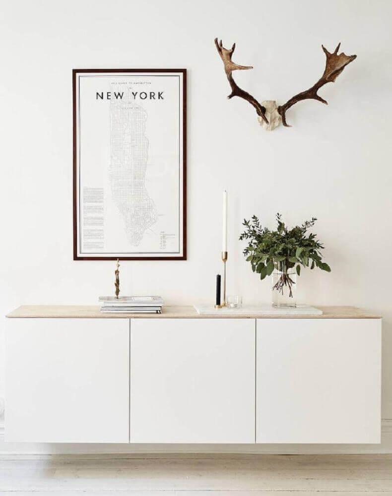 detalhes decoração com quadros minimalistas