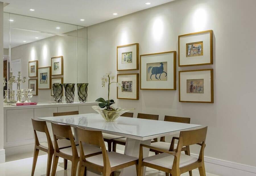 Espelho Bisotado 50 Modelos para Inspirar e Decorar -> Decoração De Sala De Jantar Com Espelho Redondo