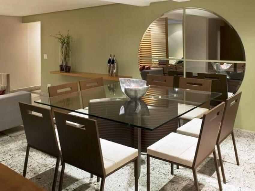 espelho bisotê para sala de jantar com estilo moderno e minimalista