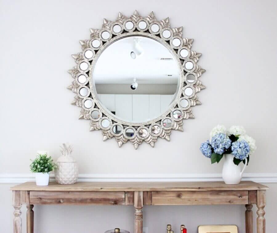 espelho bisote com moldura de prata