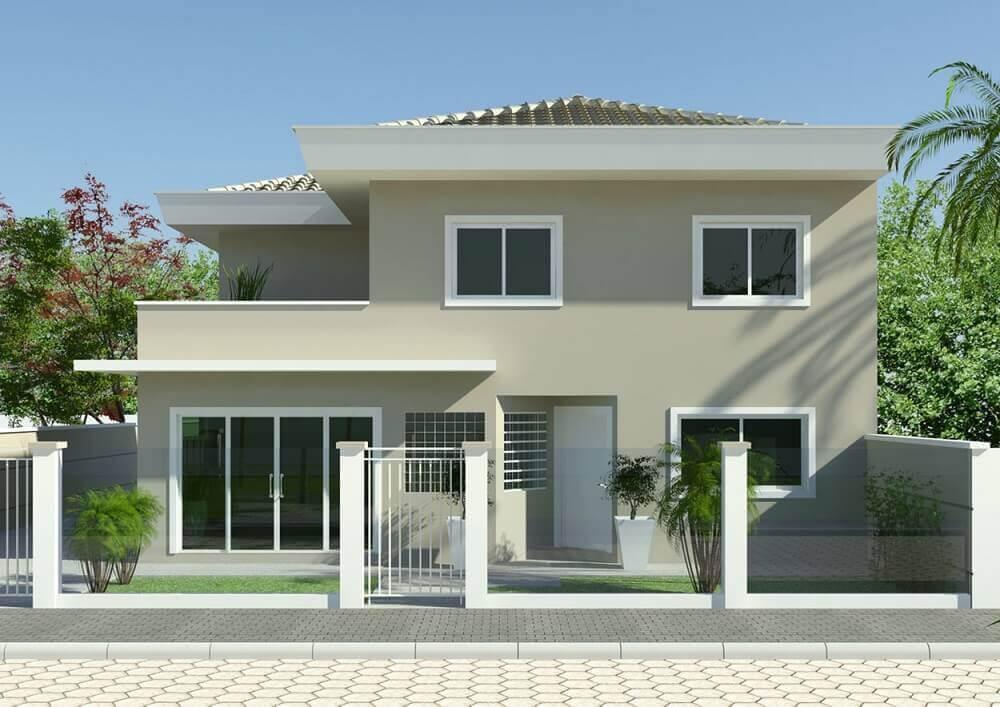 fachada com cores de casas neutras