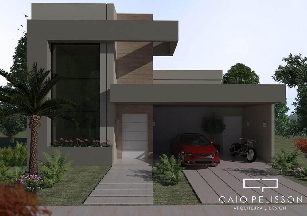 Fachada de casas minimalistas e modernas