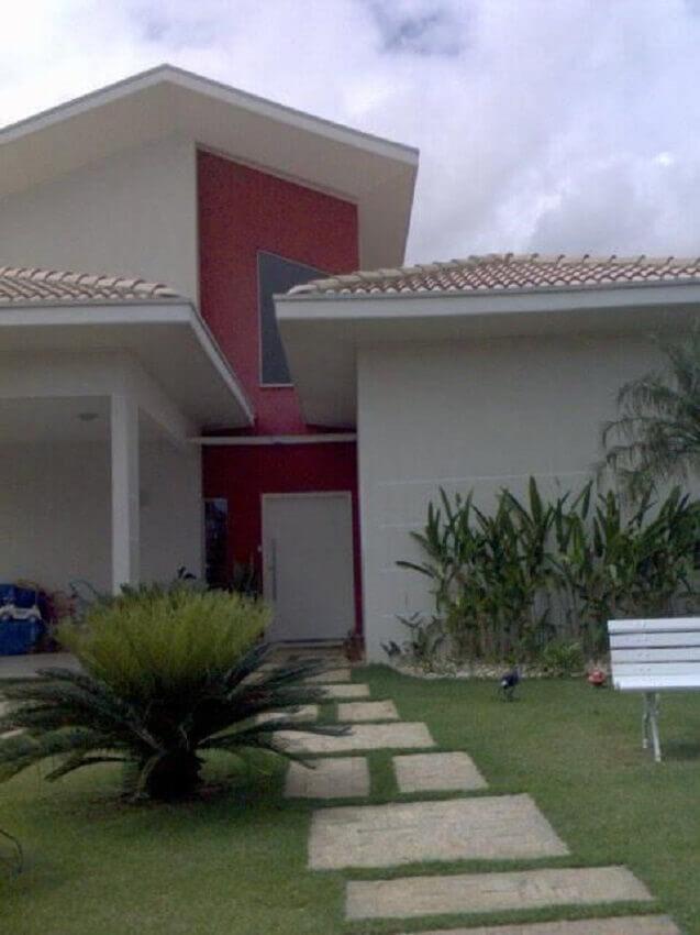 fachada vermelho e branca cores de casas