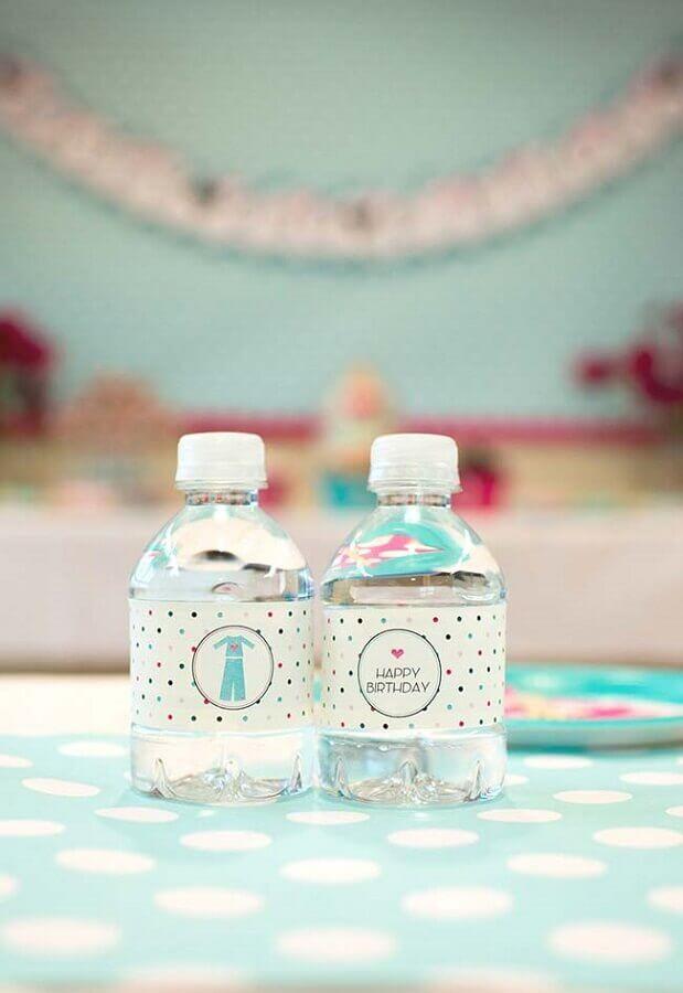 garrafinha de água personalizada para festa do pijama Foto Pinterest