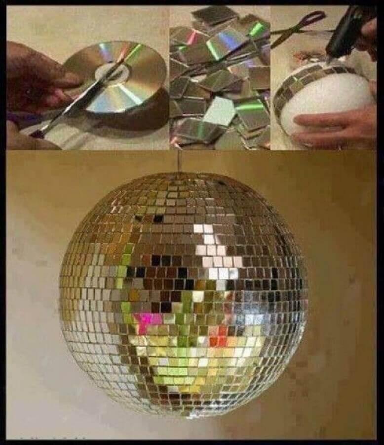 globo para festa feito com reciclagem com CD