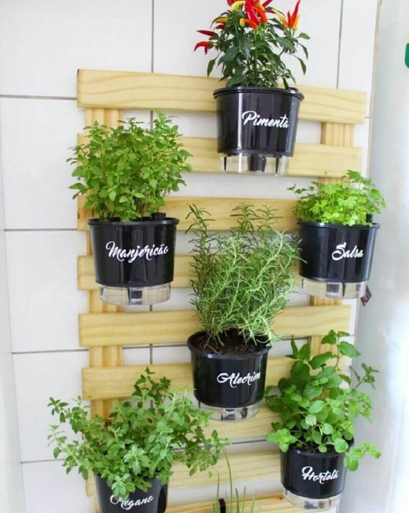 horta vertical em apartamento com vasinhos pretos
