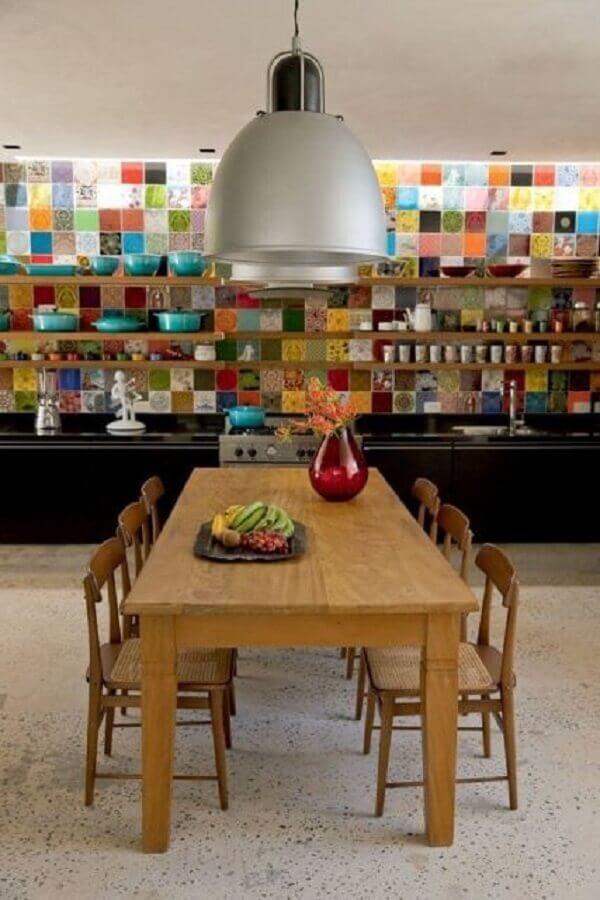 ladrilhos coloridos para cozinha decorada