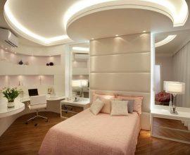 43. Linda decoração para quarto feminino jovem com cabeceira estofada rose