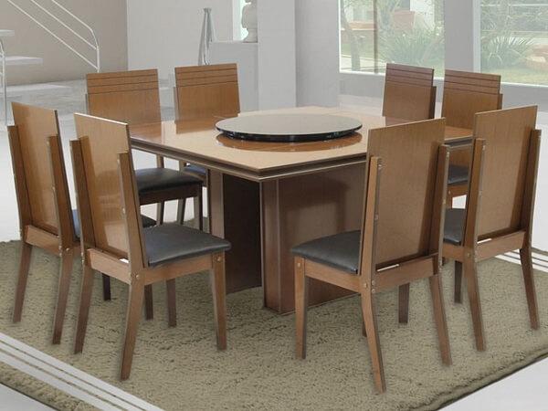 mesa para sala de jantar com prato giratório