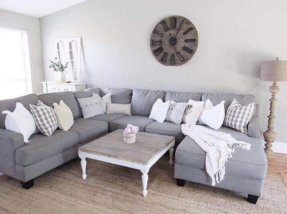 modelo cinza de sofá de canto para sala clean