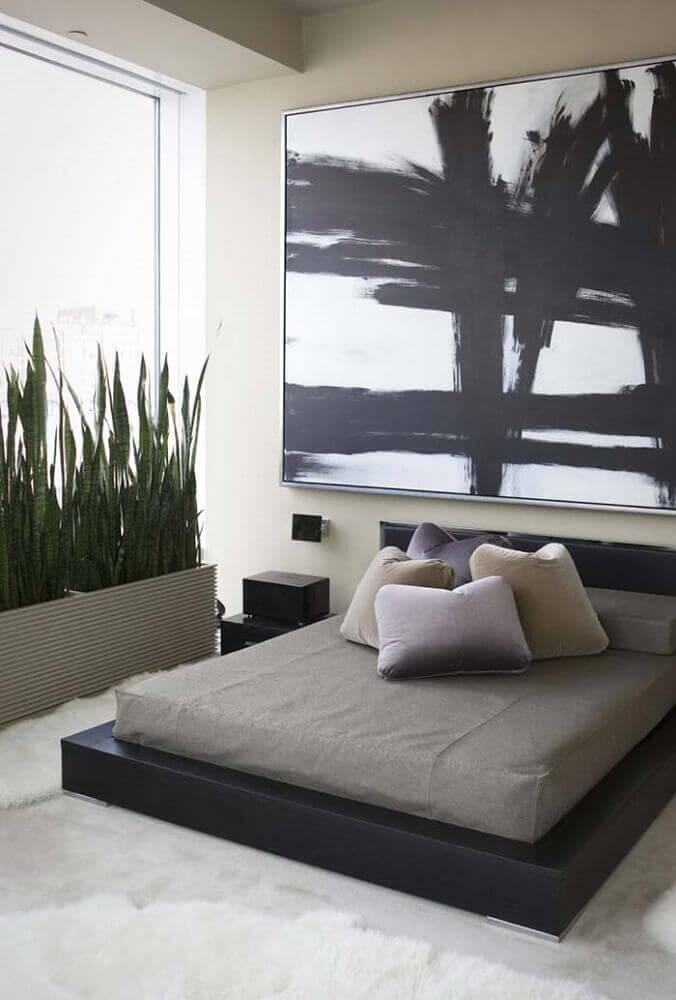 modelo de cama de casal japonesa com a base preta