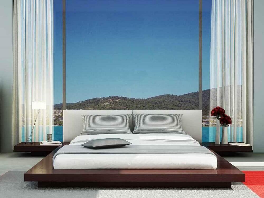 modelo de cama japonesa com criado mudo
