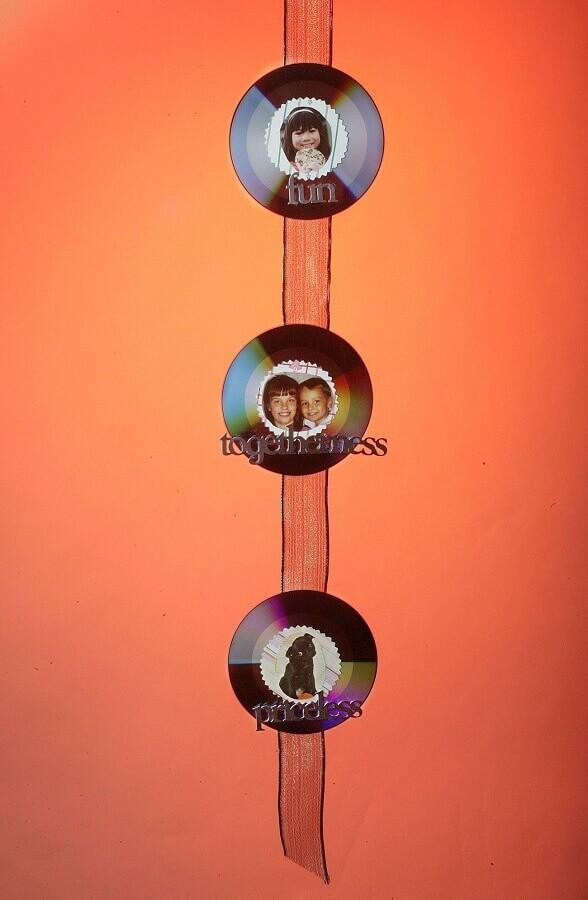 modelo simples de porta retrato de CD para decoração
