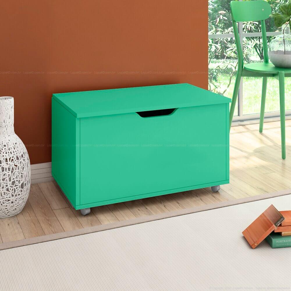 modelo simples de puff baú verde água