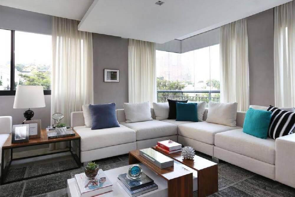 modelos de sofá de canto para sala decorada