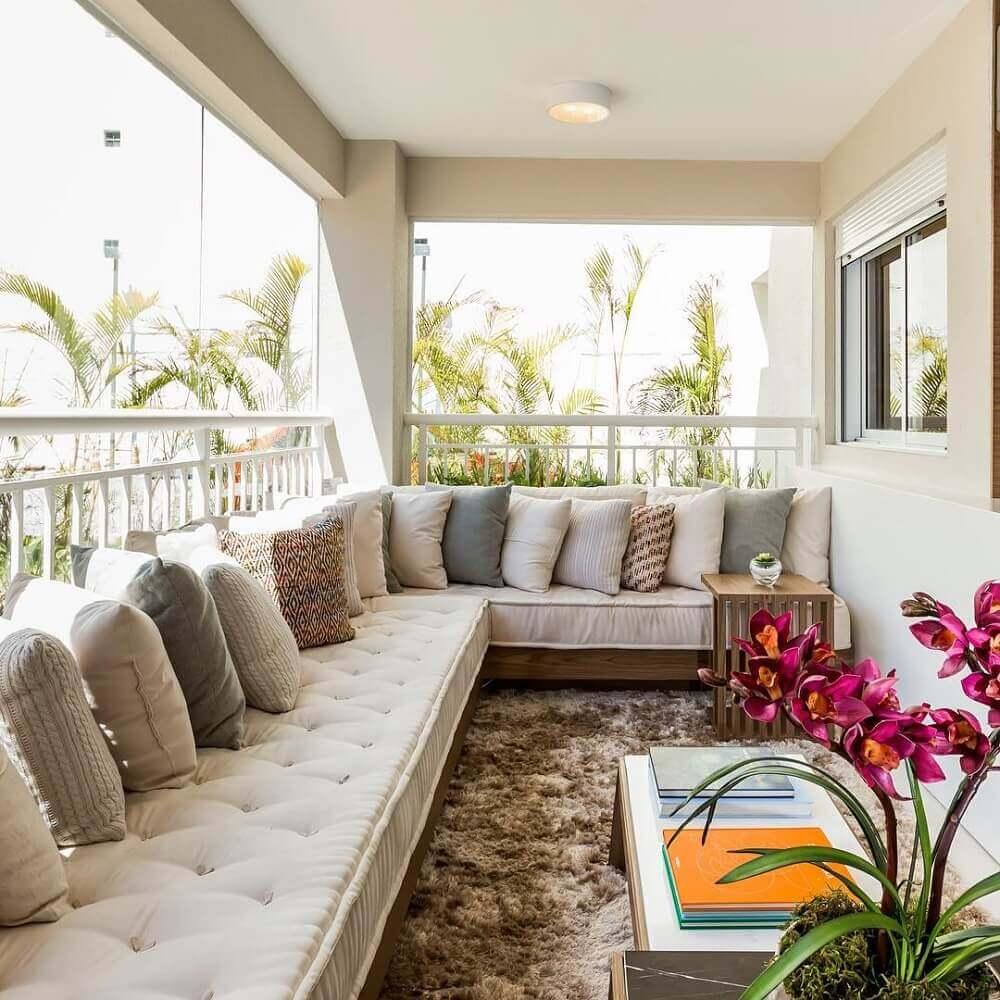 modelos de sofá de canto para varandas decoradas