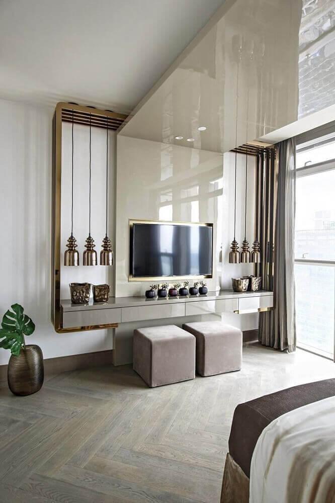 painel de TV para sala com pedra silestone