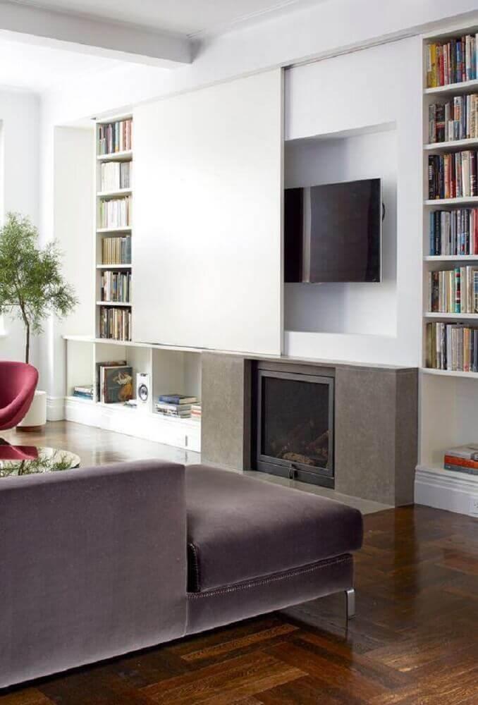 painel para sala de estar com porta que desliza