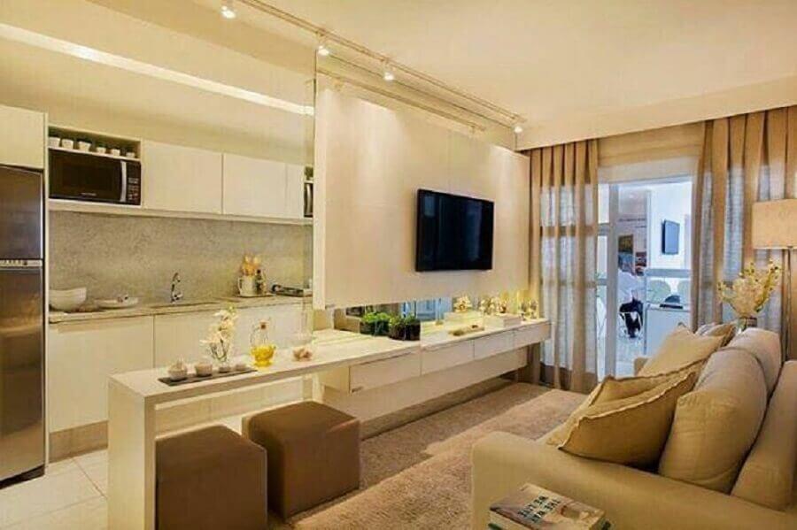 painel para sala pequena com cozinha integrada