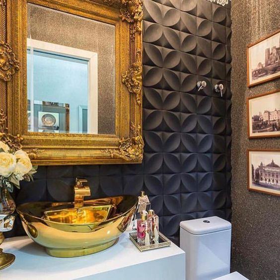 papel de parede 3d - banheiro com papel de parede preto 3d