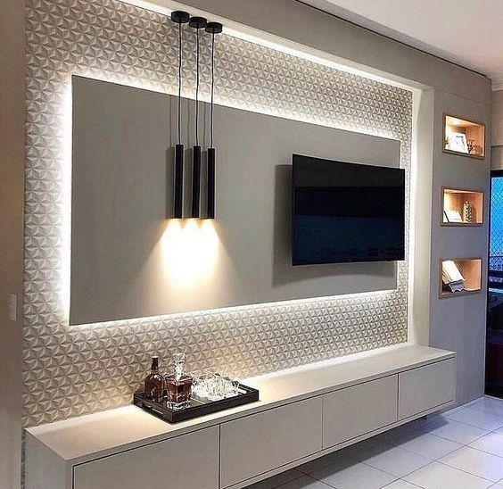 papel de parede 3d - painel de tv com papel de parede 3d branco