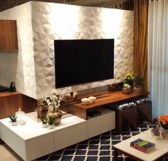 papel de parede 3d - painel de tv com papel de parede 3d branco simples
