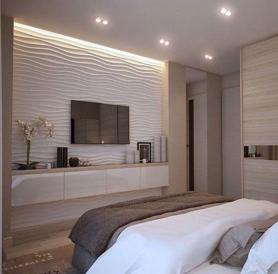 papel de parede 3d - painel de tv para quarto com ondas em papel de parede 3d