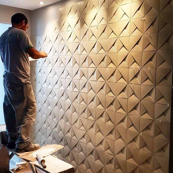 papel de parede 3d - papel de parede 3d sendo instalado