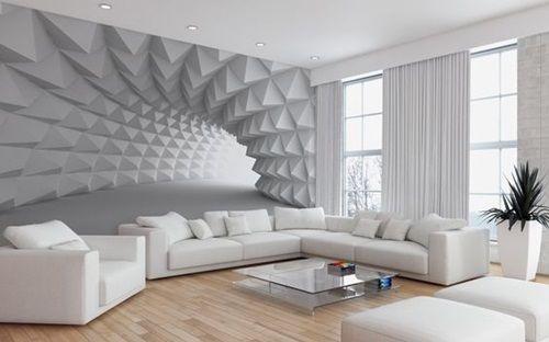 papel de parede 3d - sala de estar com papel de parede 3D