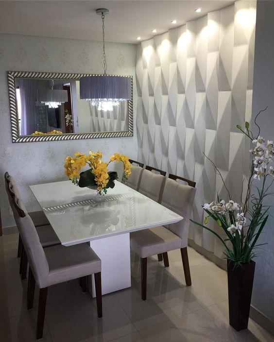 papel de parede 3d - sala de jantar com papel de parede 3d