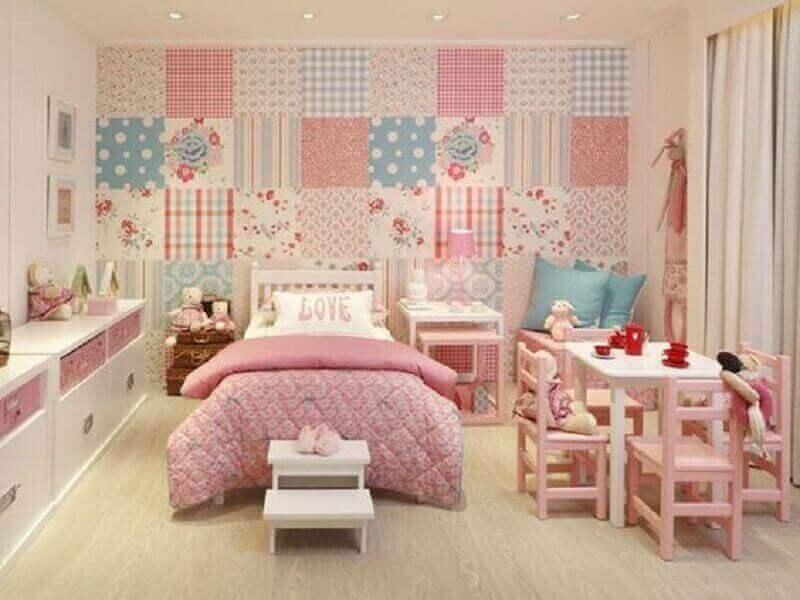 papel de parede estampado para decoração de quarto infantil feminino