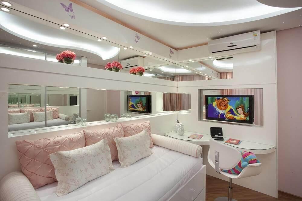 paredes espelhadas para quartos decorados femininos