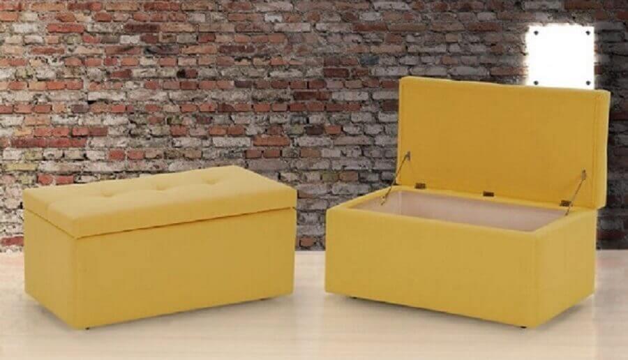 puff baú amarelo simples