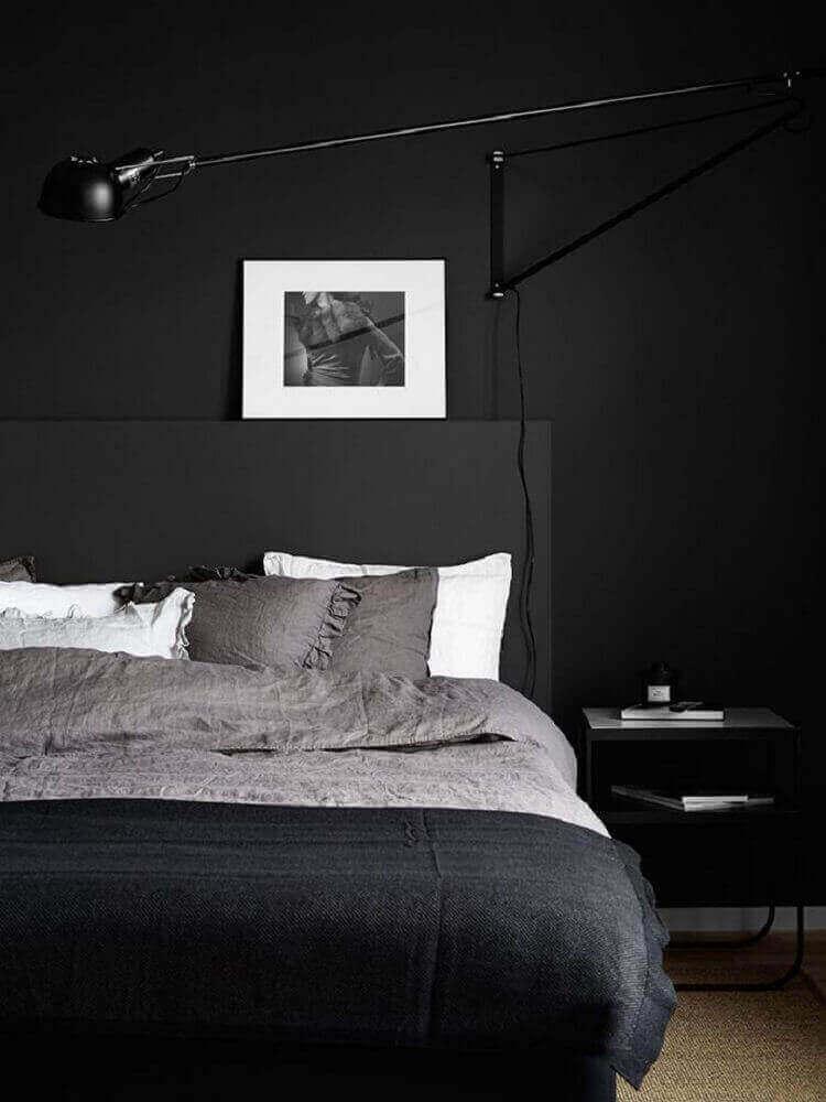 quarto minimalista preto