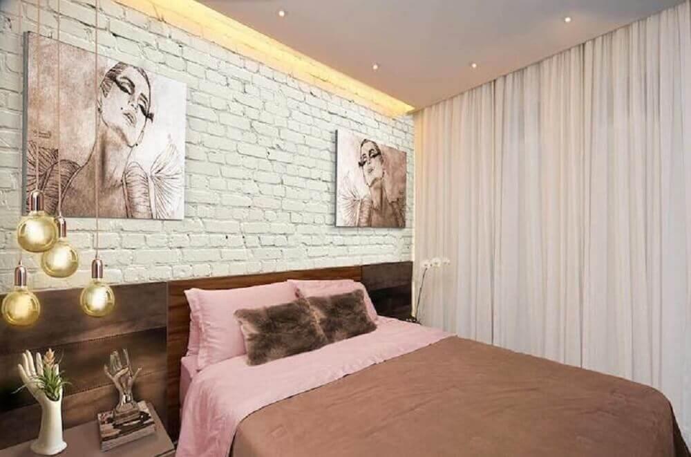 quartos decorados femininos com papel de parede de tijolinho