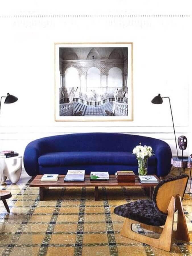 sofá moderno azul