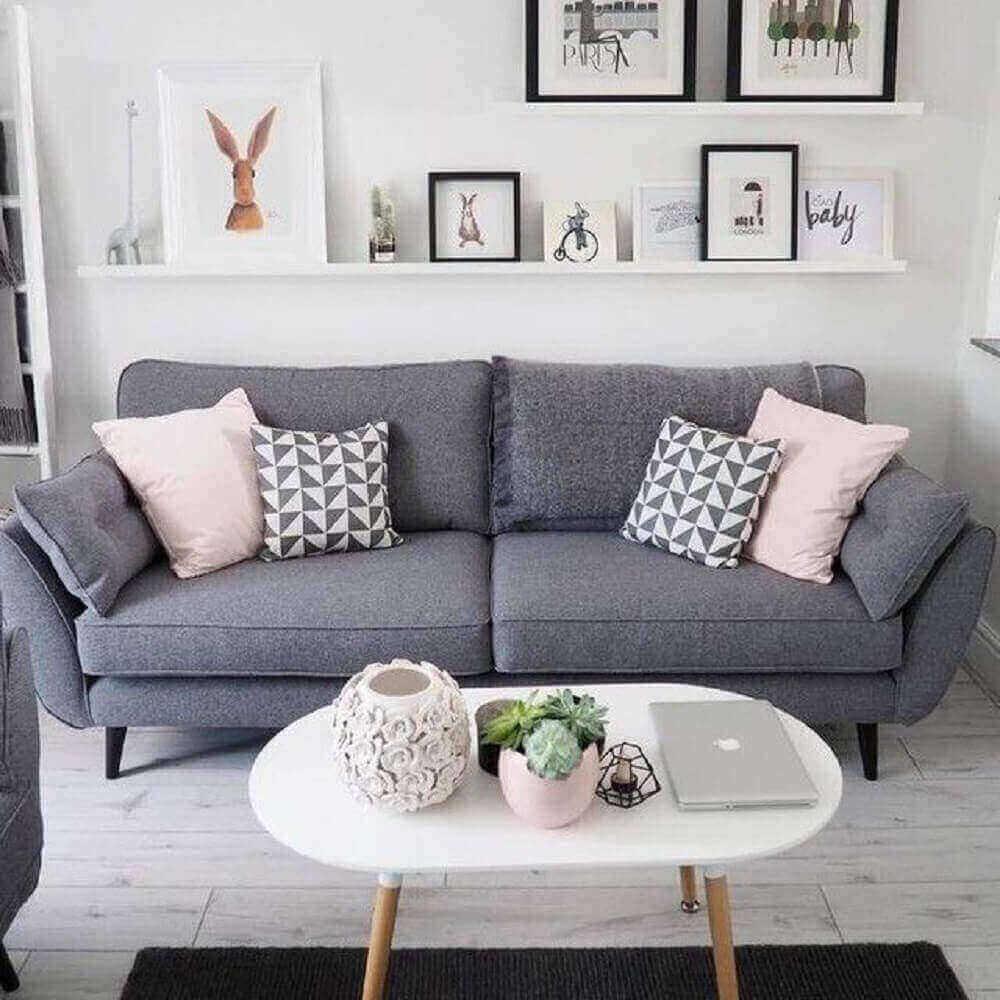 sofá para sala com decoração moderna e minimalista