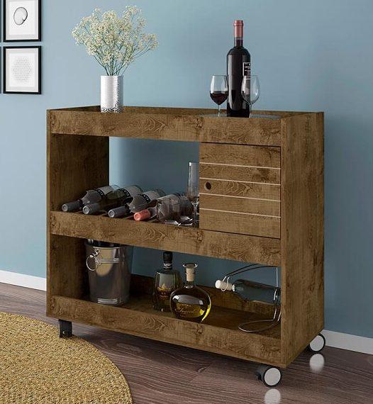 Barzinho para sala aparador de madeira