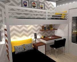 Beliche com escrivaninha e iluminação especial