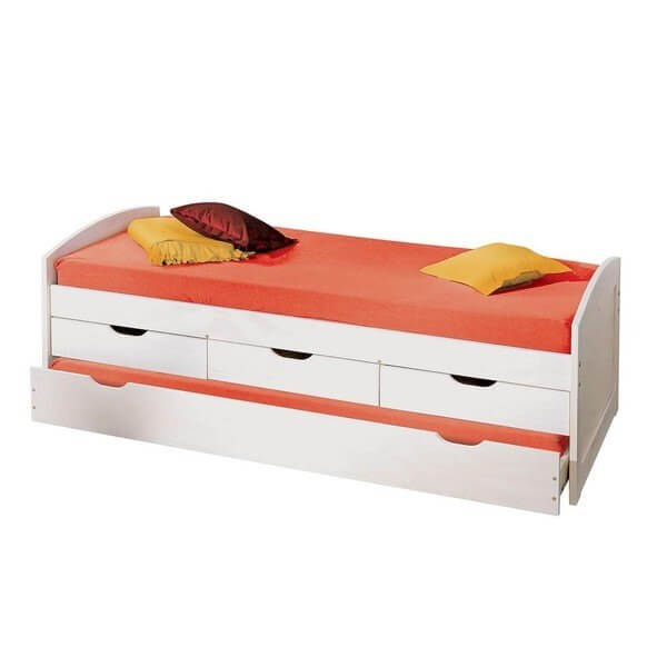 Bicama branca com três gavetas