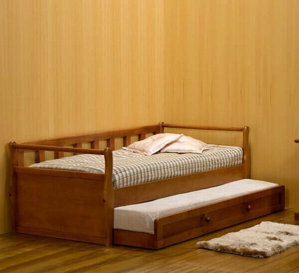 Bicama com gavetas em madeira
