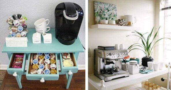 Cantinho do café com aparadores