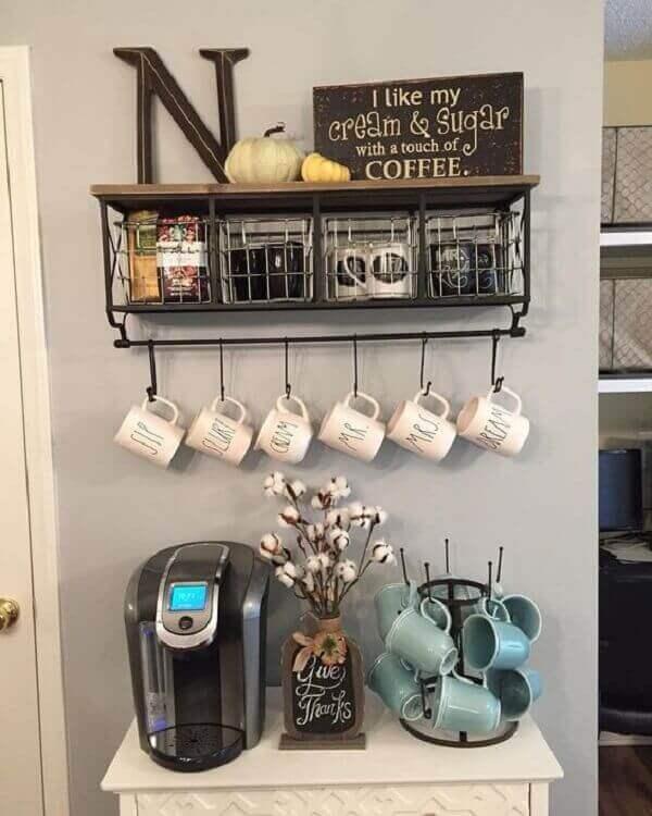 Cantinho do café decoração sala de estar
