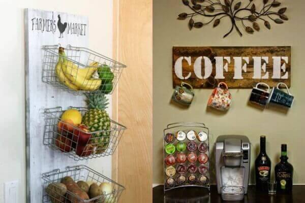 Cantinho do café em cozinha decorada