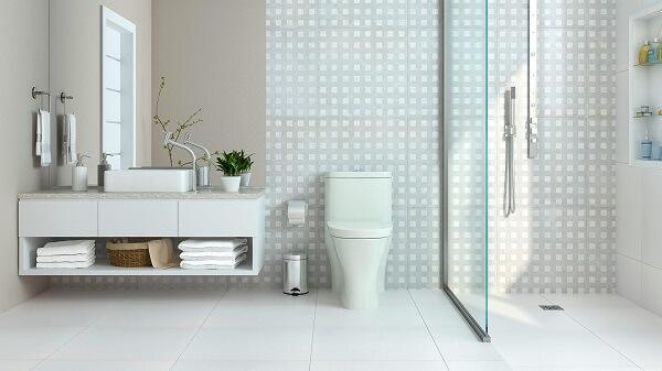 Cerâmica para banheiro em estilo clean