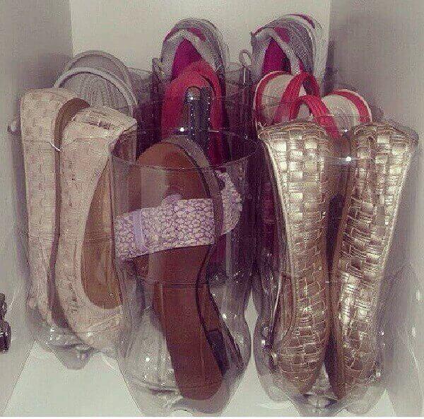Como fazer uma sapateira com garrafa pet para o closet