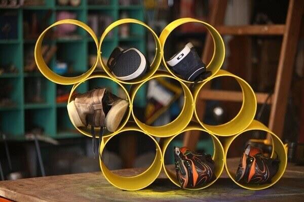 Como fazer uma sapateira de pvc amarelo