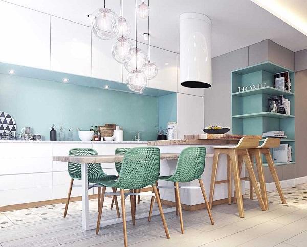 Cores para cozinha azul claro e branco