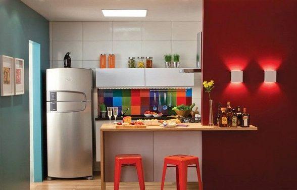 Cores para cozinha integrada com banquetas vermelhas