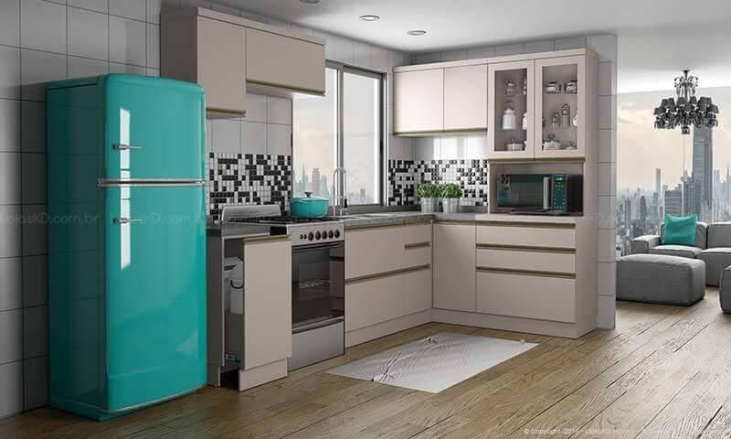 Cozinha bege com geladeira colorida verde Projeto de Lojas KD